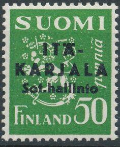 """East Karelia 1941 black overprint on 50p p:14 [Mi FI-EK 1II] """"Pointed second A in Karjala"""""""