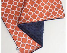 Orange Quatrefoil & Navy Minky Stroller Blanket, Toddler Baby Blanket in Designer Riley Blake Fabric- Made to Order