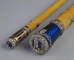 cane St. Petersburg Russia. The end of the 18th century. Wood, gold, enamel, diamonds, engraving, guilloche