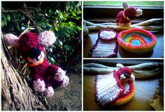 My first crochet dog with his basket.