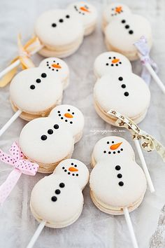 White Cute Christmas Snowman Macarons | We Heart It | food ...
