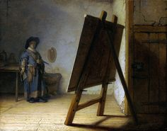 """""""The Artist in His Studio"""" - Rembrandt, 1626-28. A Self-portrait in a humble setting with cracks on the walls and floors and a wooden door. He stares blankly (no facial details) at a canvas. This piece evokes curiosity. What is on the canvas? What is he doing? There are no paint brushes or paints visible, but there is a palette hanging on the wall. Before the act of painting?"""