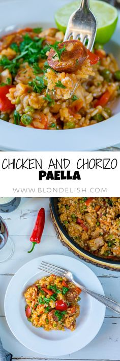 How to make Chicken and chorizo paella. Chicken And Chorizo Paella Recipe, Chicken Recipes, Chef Recipes, Easy Recipes, Easy Meals, Recipe Videos, Food Videos, Good Food, Yummy Food