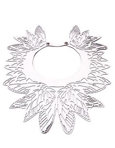 white leather laser-cut necklace