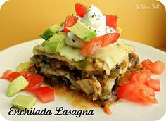 Chicken Enchilada Lasagna Recipe #chicken #enchiladas