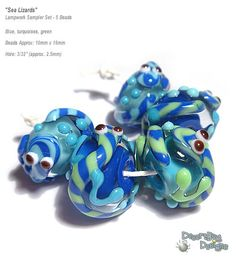 SEA LIZARDS Handmade Lampwork Beads Blue Green and Lizards Fun and Funky Textured Set of 5
