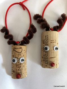 Wine Cork Rudolph the Reindeer Christmas Tree Ornaments Qty of 4 Red Bows & Snowflakes Holiday Decor Xmas Gift Tags Wine Bottle Charm Christmas Ornament Crafts, Reindeer Christmas, Christmas Crafts For Kids, Holiday Crafts, Christmas Diy, Wine Cork Christmas Trees, Christmas Tree With Antlers, Decorated Christmas Trees, Half Christmas Tree