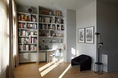 "Share-Design-Kasia-Gatkowska-Stef-Bakker-Apartment-17 Radiator Custom millwork  ""enclosure"" shelving desk exposed radiator"