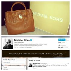 Tweeted about my beautiful new Michael Kors Hamilton tote, and then this happened minutes later. :) happy girl!