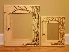 Wood burned picture frame do custom orders by KallyGrace3boutique... I love trees