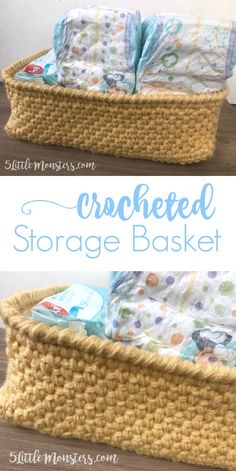 Free pattern for a crocheted storage basket perfect for holding diapers and wipes. [ad] #MoreHuggiesMoreSavings