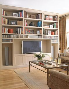 Great idea for my upstairs sun room that we're attempting to turn into a library