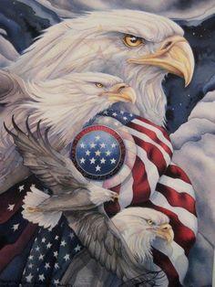 Bergsma Gallery Press :: Paintings :: Nature :: Birds :: Eagles :: Together We Stand, United We Soar - Prints I Love America, God Bless America, America America, American Pride, American Flag, American Spirit, American Soldiers, Graffiti Kunst, Together We Stand