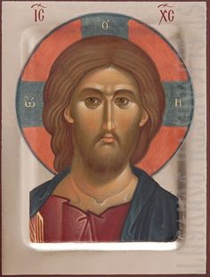 Handpainted Icon of Jesus Christ the Pantocrator Byzantine Icons, Byzantine Art, Religious Icons, Religious Art, Mandela Art, Christ Pantocrator, Church Icon, Paint Icon, Santa Face