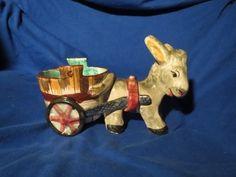 Donkey and Cart Italy Italian Majolica Figure Vintage Planter Dish Signed | eBay