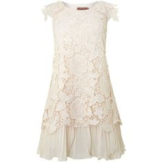 Jolie Moi Crochet lace layered dress found on Polyvore
