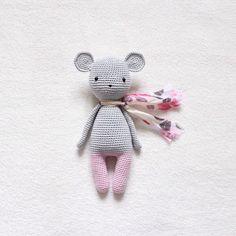 Amigurumi Puppe Maus  Größe ca. 22cm  Farben: rosa und grau