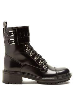 Ranger logo-debossed leather ankle boots | Balmain | MATCHESFASHION.COM