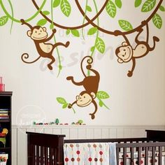 Three Monkeys Swinging on Vines - - Kids Vinyl Wall Sticker Decal Art — Removable Wall Decals & Stickers by My Friend Matilda Wall Decals For Bedroom, Nursery Wall Stickers, Kids Wall Decals, Removable Wall Decals, Vinyl Wall Stickers, Nursery Wall Art, Monkey Nursery, Monkey Room, Flower Wall Decals