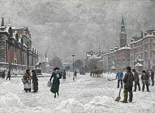 """Ældre malerier: Paul Fischer: """"Vinterdag Vestre Boulevard"""". En vinterdag ud for Glyptoteket. En elegant ung dame krydser gaden. Sign. og dateret. Olie på lærred. 90 x 124."""
