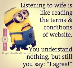 Love quotes funny in telugu happy marriage quotes funny less on new funny messages about love Funny Minion Memes, Minions Quotes, Funny Relatable Memes, Funny Sarcasm, Funny Shit, Funny Stuff, Funny Reading Quotes, Love Quotes Funny, Missing Quotes