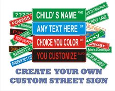"Large Custom Personalized Street Sign 6"" x 24"" Aluminum 