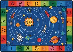 Blast off to a galaxy of fun and learning on the Milky Play Literacy Classroom Rug! This colorful Space themed area rug has an alphabet border that surrounds a picture of the Milky Way Galaxy. It feat