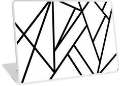 """Classic Black White Geo "" Laptop Skins by anitabellajantz Washi Tape Laptop, Geometric Decor, Laptop Skin, Tech, Black And White, Classic, Diy, Derby, Blanco Y Negro"