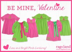 Our Rags Land Be Mine, Valentine Lime & Brt Pink Corduroy Collection! Shop NOW at www.ragsland.com & follow Ragsland on Instagram!