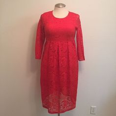 Savoil Women XXXL Red Floral Lace Long Sleeve Sheath Empire Waist Pullover Dress #Savoil #EmpireWaistSheath