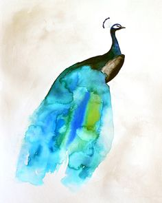 40% Off SALE - Peacock Painting - Feather - Bird Wall Art Watercolor - Peacock II - Large Print 16x20 - Poster