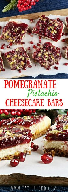 A holiday red and green cheesecake bar! A pistachio-graham cracker crust, layered with creamy vanilla cheesecake, and covered with a thick pomegranate sauce. It is then finished with crushed pistachios and pomegranate arils for a truly decedent treat!