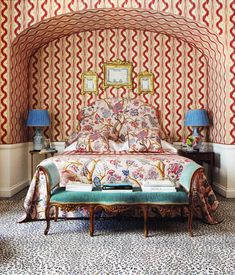 """This bedroom is making a huge run for my favorite bedrooms of all time list. Red Pierre Frey """"Toiles des Nantes"""" wallpaper, Pierre Frey floral bedding and headboard, antique bench upholstered in a teal Scalamandre velvet, and a Stark leopard carpet. Decor, Bedroom Inspirations, Furniture, Interior, Bedroom Decor, Pierre Frey, Beautiful Bedrooms, Home Decor, Bedroom Bliss"""