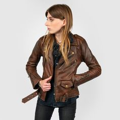 d6da06fcff Shop Commando - Washed Brown Leather Jacket with Brass Hardware from  Straight To Hell Apparel.