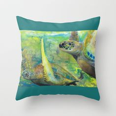 """Giant Sea Turtle Watercolor Fine Art Print Reproduction Painting """"The Lovers"""" Throw Pillow by Jade Dumpling - $20.00"""