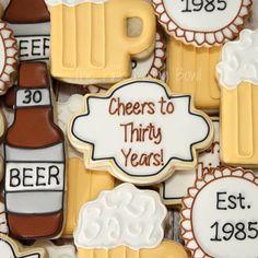 For the evening crowd... Cheers & Beers to 30 Years themed set! #thepinkmixingbowl #houstoncookies #decoratedcookies #customcookies #birthdaycookies