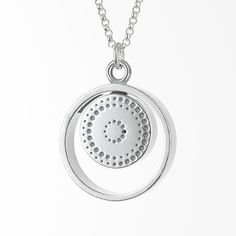 Made of sterling silver Two sides with different appearance around the same theme Compass balanced for the northern hemisphere Silver chain length 70 cm Made in Finland