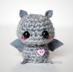 Baby Gray Bat - Kawaii Mini Amigurumi Plush. $10.00, via Etsy.