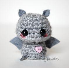 Baby Gray Bat - Kawaii Mini Amigurumi Plush. $10.00, via Etsy.