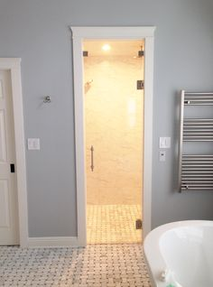 Frameless Steam Shower Enclosure: Door with Above Door Steam Transom - Furnished & Installed by Rex Glass & Mirror Co. Steam Shower Enclosure, Frameless Shower Enclosures, Frameless Shower Doors, Steam Showers, Bathtub, Mirror, Bathroom, Luxury, Glass