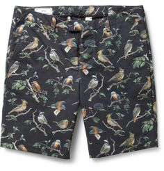 AmiBird-Print Cotton-Twill Shorts|MR PORTER
