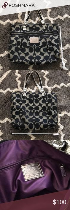Authentic Coach Poppy Tote Purse Pre-Loved Authentic Coach Poppy Tote Purse Pre-Loved Gently See Pictures for Measurements Some Loose Stitching on 1 Interior Pocket Minor Scuffs on Bottom Handles Show Some Wear All Shown in Pictures Great Condition Coach Bags Totes