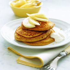 Gingerbread Pancakes with Pears and Yogurt | MyRecipes.com