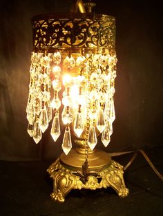 Mouse over image to zoom    Have one to sell? Sell it yourself  BEAUTIFUL ANTIQUE VICTORIAN ELECTRIC TABLE LAMP W/CUT CRYSTAL LUSTRES, 1920'S