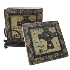 Add beauty with a message to your table with this inspirational travertine coaster set. Each coaster features a gorgeous natural travertine and steel composition. The words faith, hope, and love are prominently displayed on each coaster.