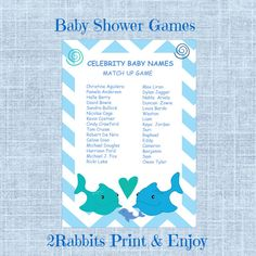 #Under #the #Sea Themed Baby Shower #Celebrity #Baby #Names #Game by 2RabbitsPrintEnjoy