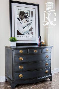 Chest / Dresser Painted in Annie Sloan Chalk Paint Graphite, Clear Wax and Dark Wax