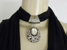New Women's Pendant Scarf Necklace Jewelry Choker Black Scarf Oval Bling
