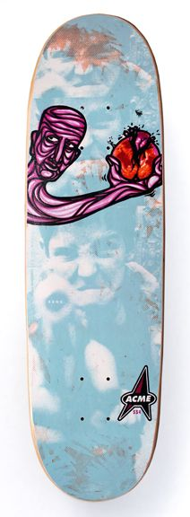 "1992  Acme Skateboards  Model: Worked World  Specs: ?""x?"", 7-ply maple w/plastic sheet bottom, asst color stains, wood by PS Stix.  Printing: Sublimated at PS Stix, Costa Mesa, CA.  NOTES: Named after Neil Blender and Eddie Glass' awesome band Worked World. Just some more of my hippie violence art. Oh, and a Star Trek logo."