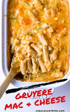 Gruyere Mac and Cheese - Creole Contessa Side Recipes, Lunch Recipes, Pasta Recipes, Vegetarian Recipes, Dinner Recipes, Cooking Recipes, Best Mac And Cheese, Macaroni And Cheese